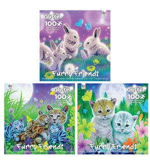 100PC FURRY FRIENDS GLITTER ASST (6) BL