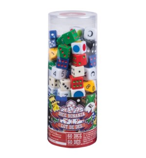 MIXED DICE CLEAR TUBE BL (6) *SD*