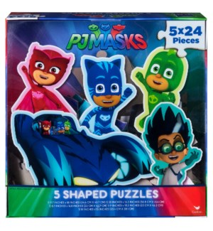 PJ MASKS 5-SHAPED PUZZLE IN CLEAR BOX (4) *SD*