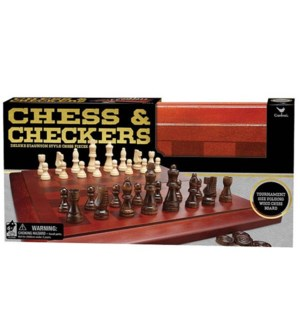 WOOD CHESS & CHECKERS FOLDING SET (4)