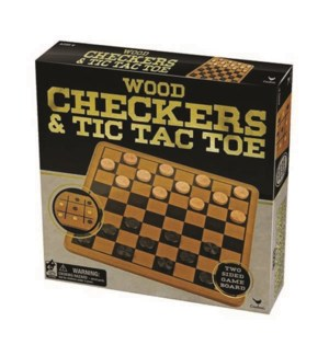 WOOD CHECKERS/TIC TAC TOE (6) *SD*
