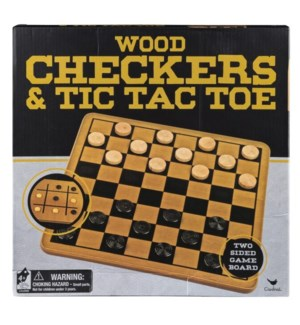 WOOD CHECKERS & TIC TAC TOE (6) BL