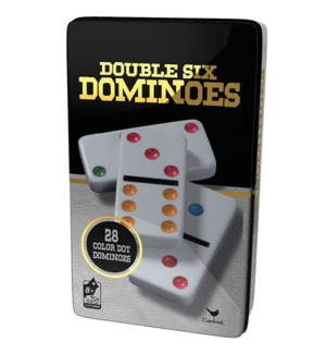 DOUBLE 6 COLOUR DOMINOS BLK/GLD TIN (6) BL