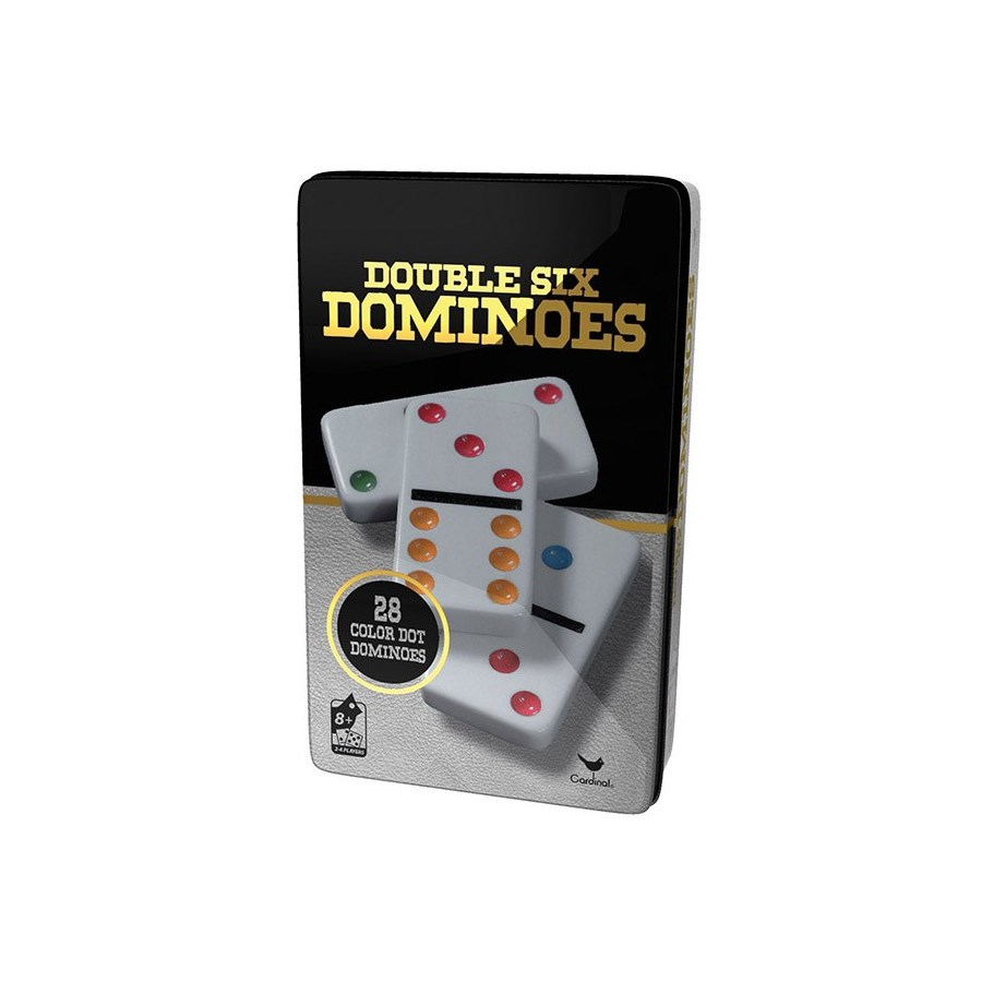 CLASSIC - DOUBLE 6 COLOUR DOMINOS IN TIN (6) BL