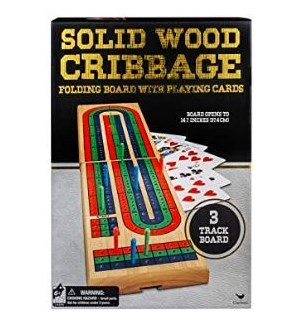CLASSIC - WOOD CRIBBAGE IN BOX (6) BL