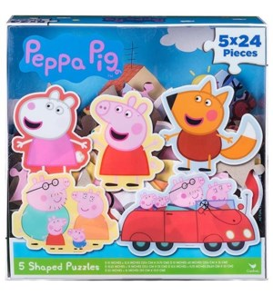 PEPPA PIG 5-SHAPED PUZZLE CLR LID BX (4) *SD*