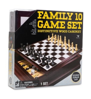 FAMILY 10 GAME CENTER IN WOOD BOX (2) *SD*