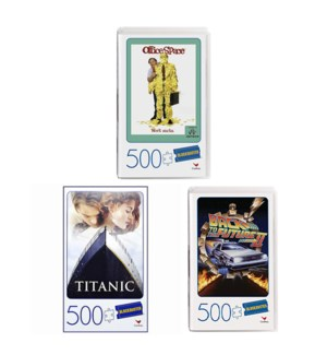 PUZZLE - 500PC BLOCKBUSTER VHS ASST (3) BL