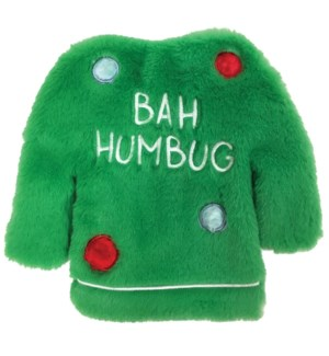 "FUZZY STUFFLESS CRINKLE UGLY SWEATER TOY-GREEN (9"")(3)BL"
