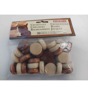 30 PCS WOODEN CROKINOLE DISKS (6) BL