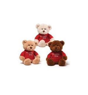 "BEAR - T-SHIRT BEAR  I LOVE YOU 3 ASST 12"" (6) BL"