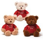 "T-SHIRT BEAR - I LOVE YOU 3 ASST 12"" (6) BL"