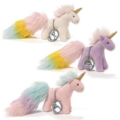 "UNICORNS - RAINBOW POMS TAILS 4ASST 4"" (6) BL *SD*"