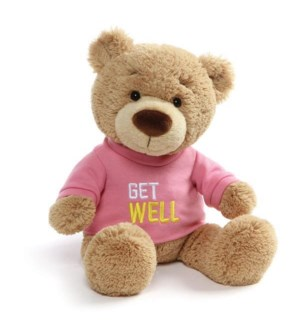 "BEAR - T-SHIRT BEAR GET WELL PINK GIRL 12.5"" (4) BL"