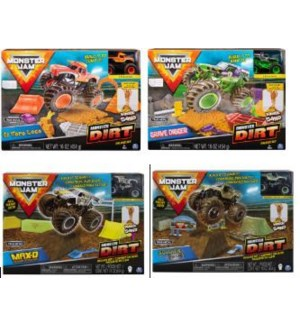 MONSTER JAM DELUXE 1:64 W/16 oz  KINETIC DIRT ASST (3)