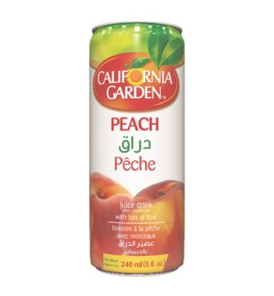 Peach CG Juice w/ Pieces Tin  240 mL x 24