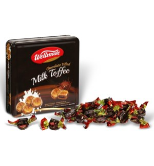 "Chocolate filled Milk Toffee Tin ""Wellmade"" packed"