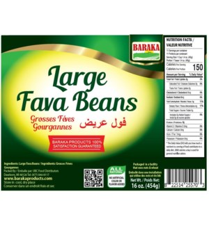 Dry Large Whole Broad  Fava Beans (bajella) in Bag