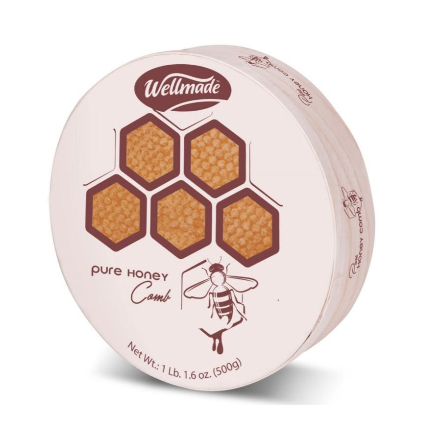 "Honeycomb in wooden round package ""Wellmade"""" 500g"