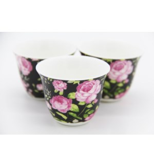 Black Floral Coffee Cup Rose with no handle x 6 (