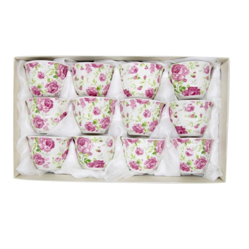 Coffee Cup No Handle with white  Floral design x 1
