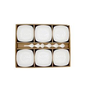 Partytime White  Porcelain snack bowls with spoons