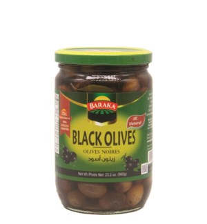 "Black Olives Jars ""Baraka"" 660 g x 12"