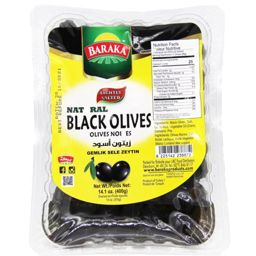 Olives Natural Lightly Salted Black in Tray Gemlik