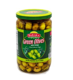 "Olives Green with Thyme ""BARAKA"" 660g x 12"