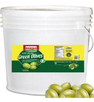 "Olives Cracked Green in pails ""BARAKA"" 22 Lbs drai"