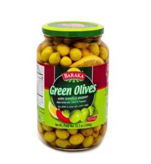 "Olives Green W/ Lemon & Pepper ""Baraka"" 1kg x 12"
