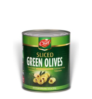 "Sliced Green Olives in Tin ""Royal Chef"" 5.92 Lbs*"