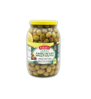 "Olives Regular ""Baraka"" Cracked Green  4.4 Lbs * 6"