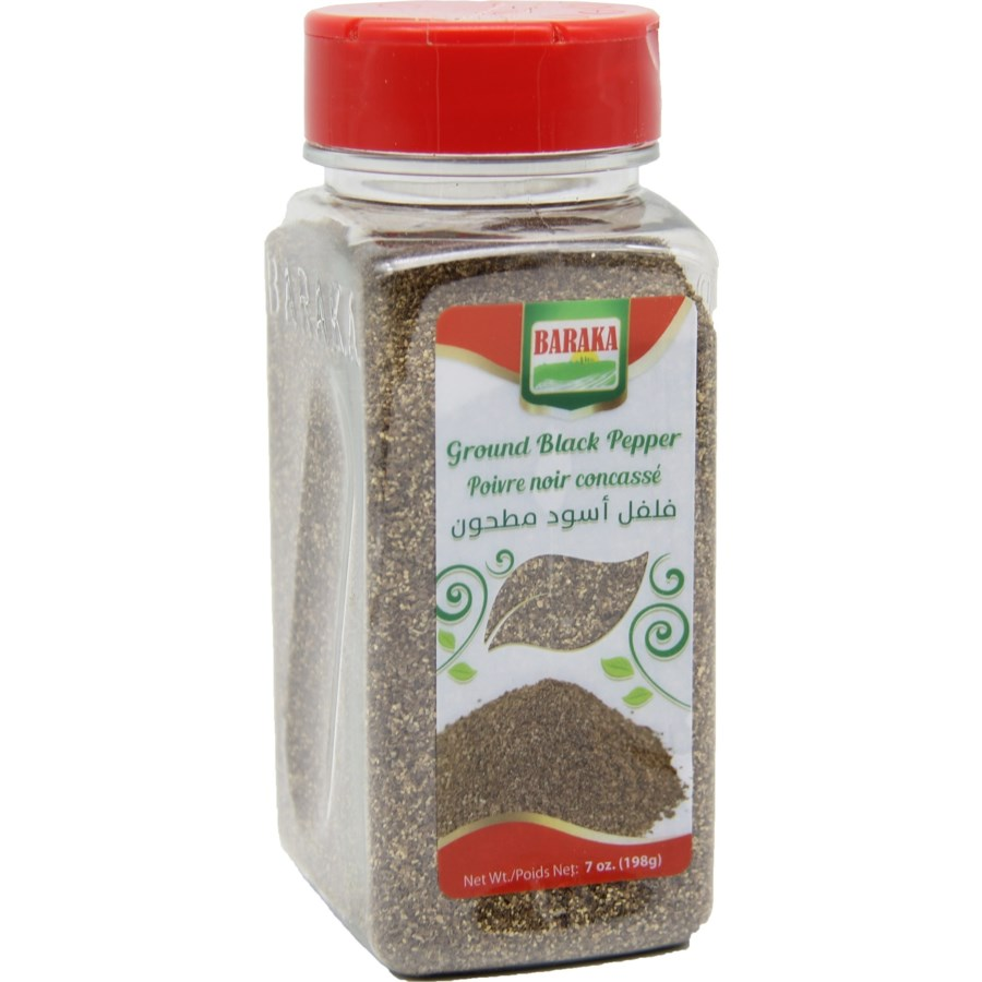 "Ground Black Pepper Spice in plastic tub ""Baraka"""