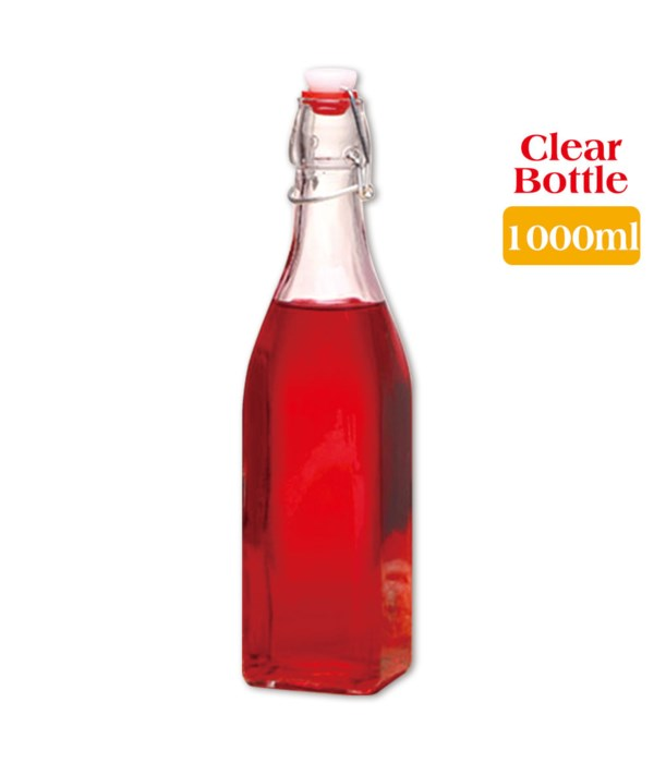 clear square bottle 1000ml/24s