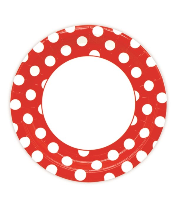 """9""""/8ct pp plate red 24/144s"""