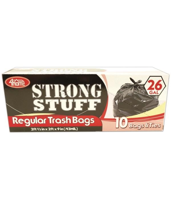 black trash bag 26gl/10ct 48s