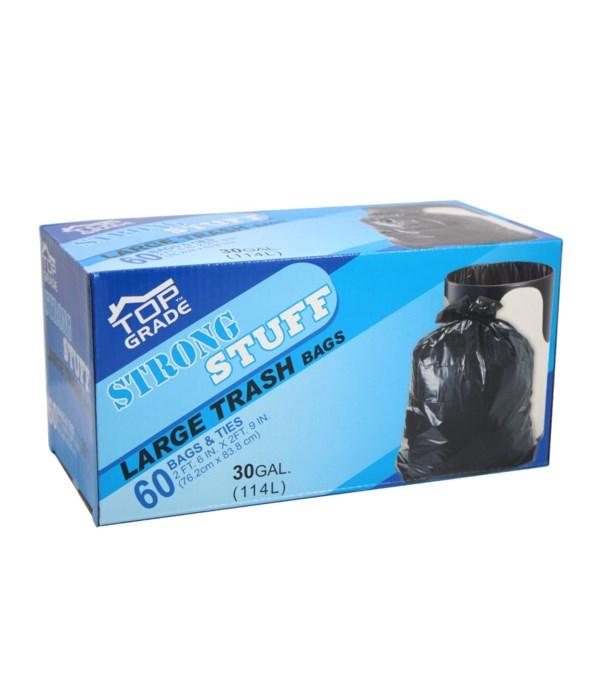 blk trash bags 30gl/60ct 2X6s
