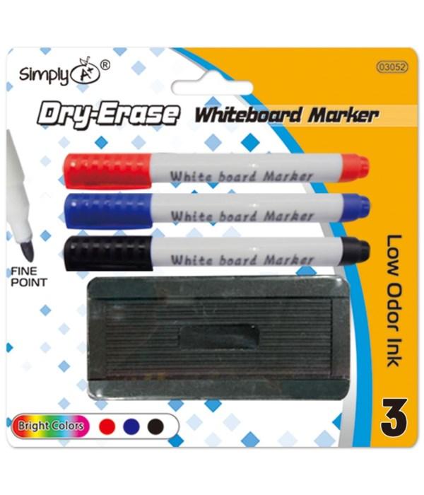 3pc dry marker w/eraser 24/144