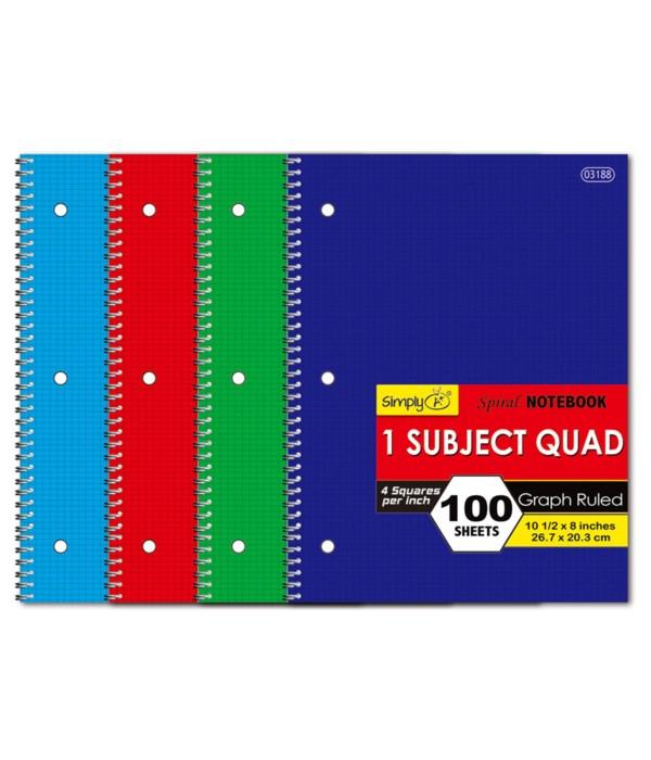 "quad ruled 4-1""spiral notebook"