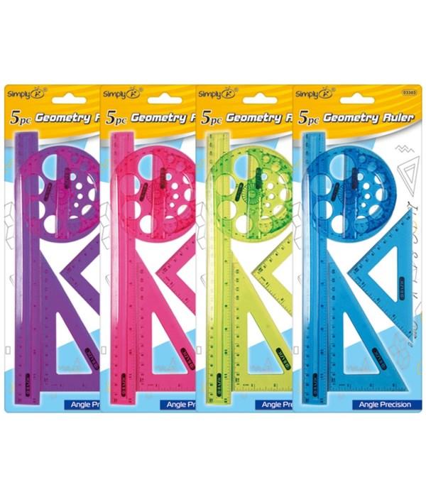 5pc geometry ruler set 24/144