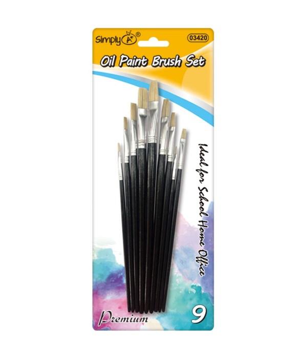 9pc oil paint brush set 12/144