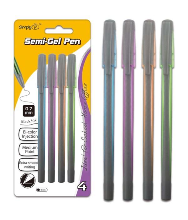 4ct semi-gel pen blk 24/144s