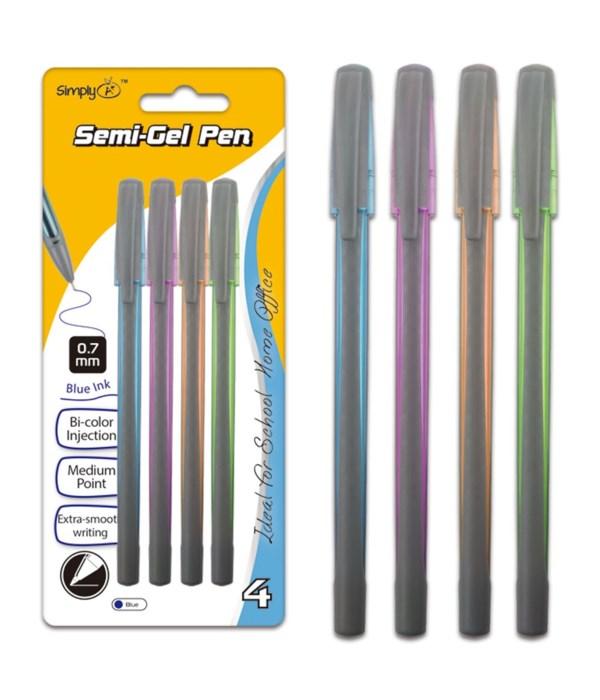 4ct semi-gel pen blue 24/144s