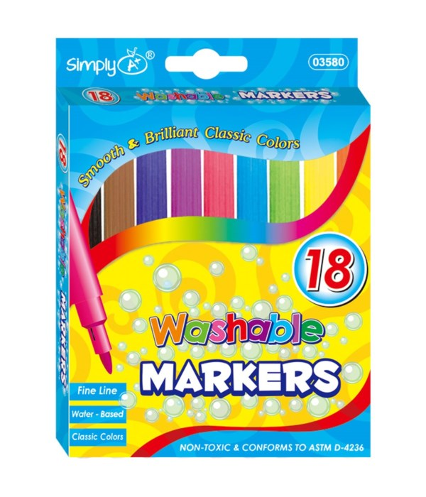 18pc washable markers 24/144s