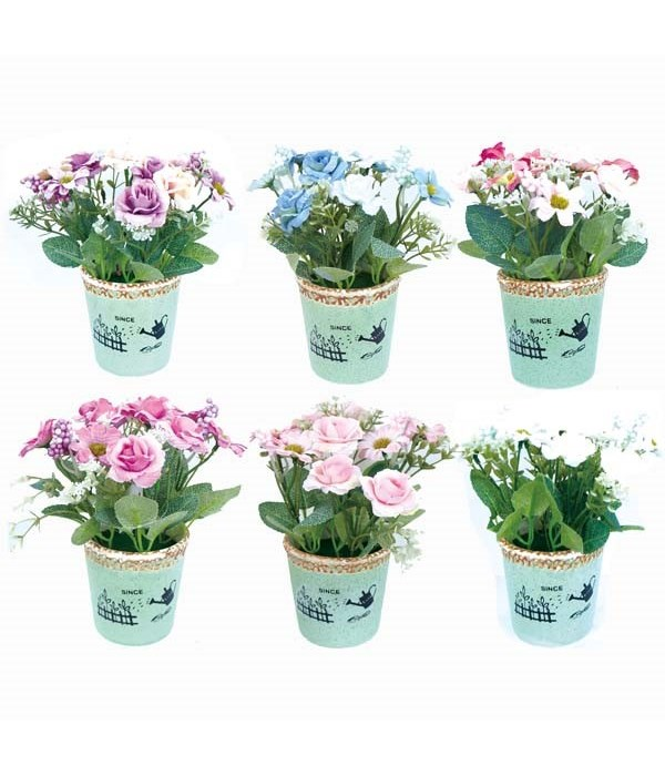 potted flower astd clr 12/80s