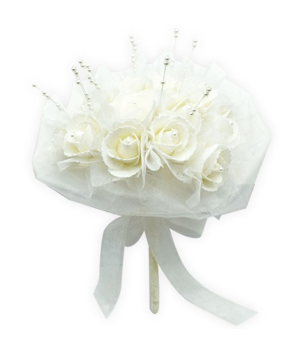 """9"""" white rose bouquet 12/48s"""