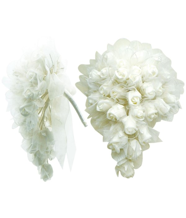 """14"""" white rose bouquet 4/48s"""