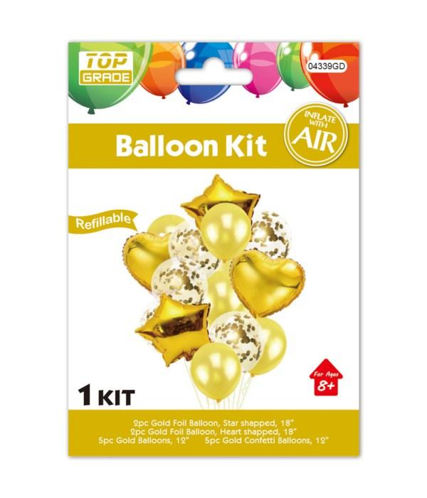 14pc balloon set gold 12/300s