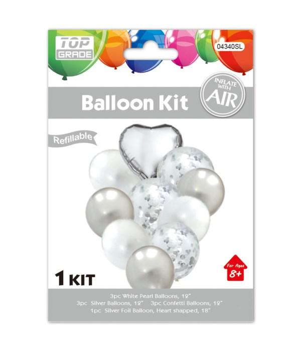10pc balloon set silver 12/300